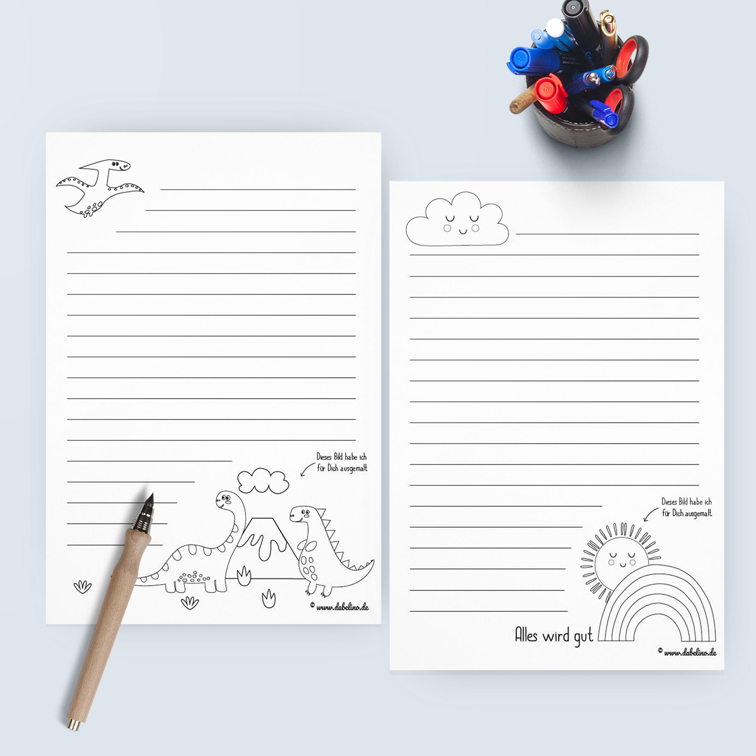 Freebie Kinder Briefpapier Vorlagen Kostenlos Als Pdf Download Zum Ausdrucken Motive Einhorn Lama Dinosaurier Und Regenbogen Dabelino