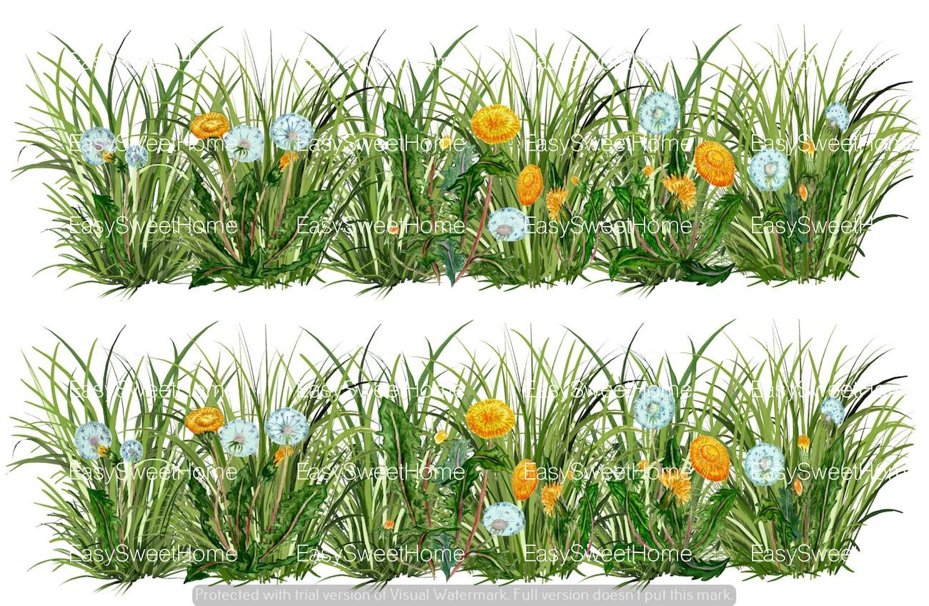 Verzauberkunst Wandtattoo Gras Das Beste Von Easysweethome Grasbordüre Mit Löwenzahn 2tlg. Wandtattoo, Möbelaufkleber,