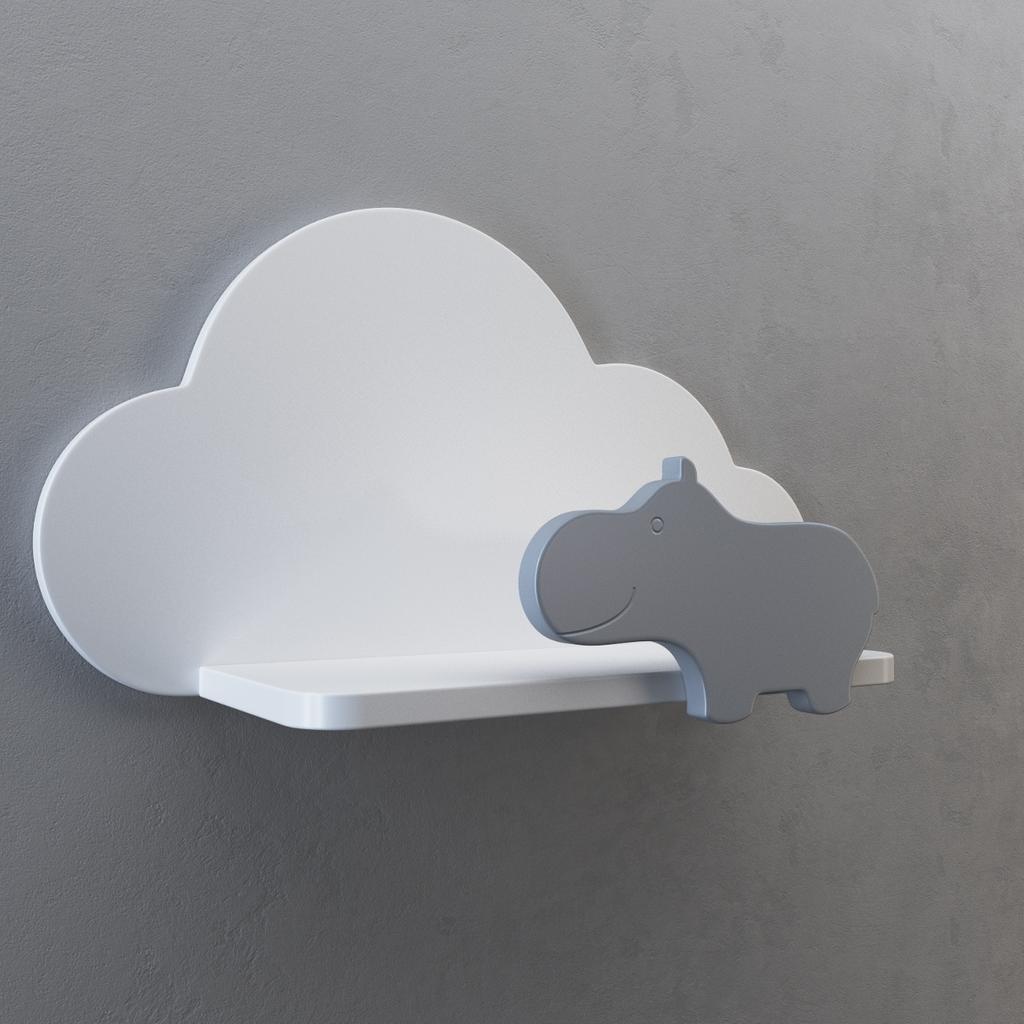Design-Wandregal Kinderzimmer - Wolke & Nilpferd