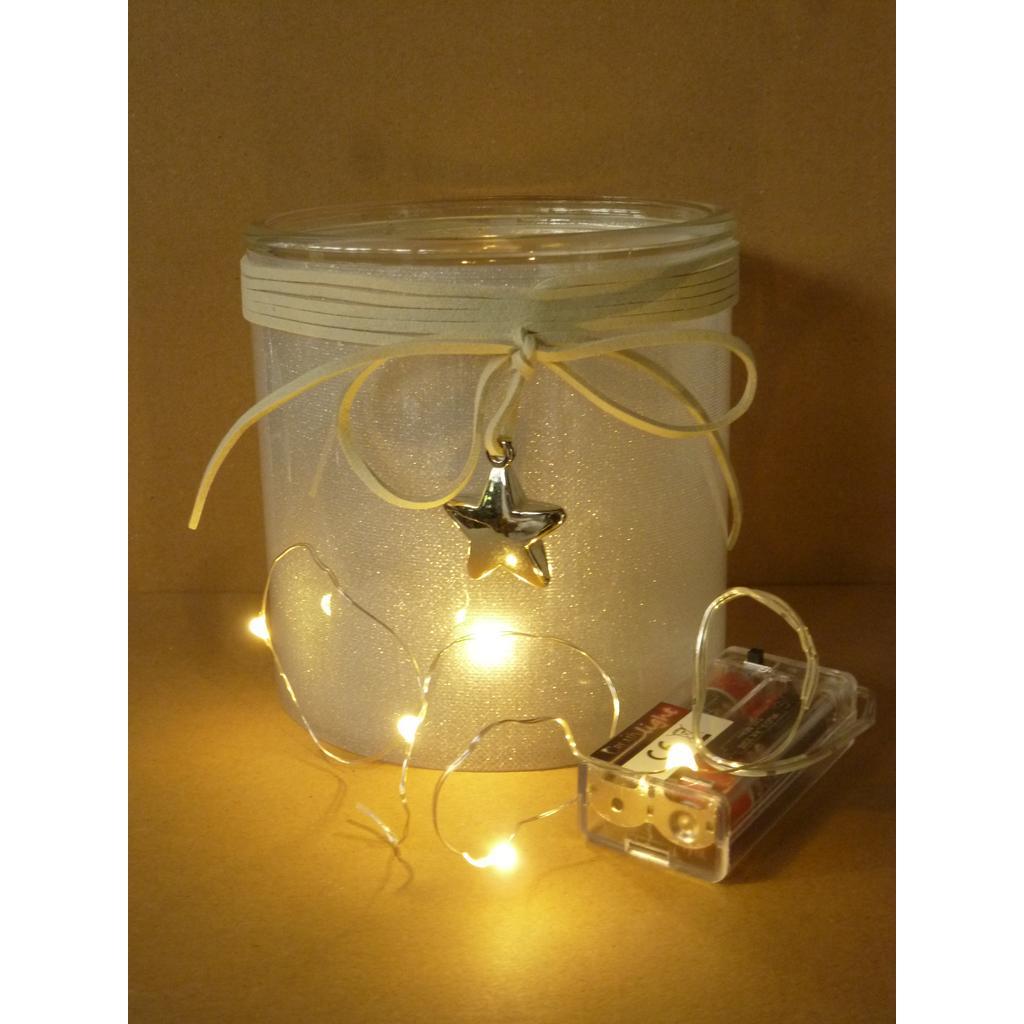 creativ home glas windlicht mit sternenfolie 12cm micro led glas windlicht windlichter. Black Bedroom Furniture Sets. Home Design Ideas