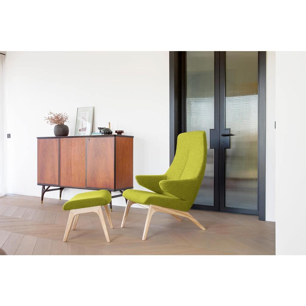 Sessel mit Hocker in limette skandinavisches Design