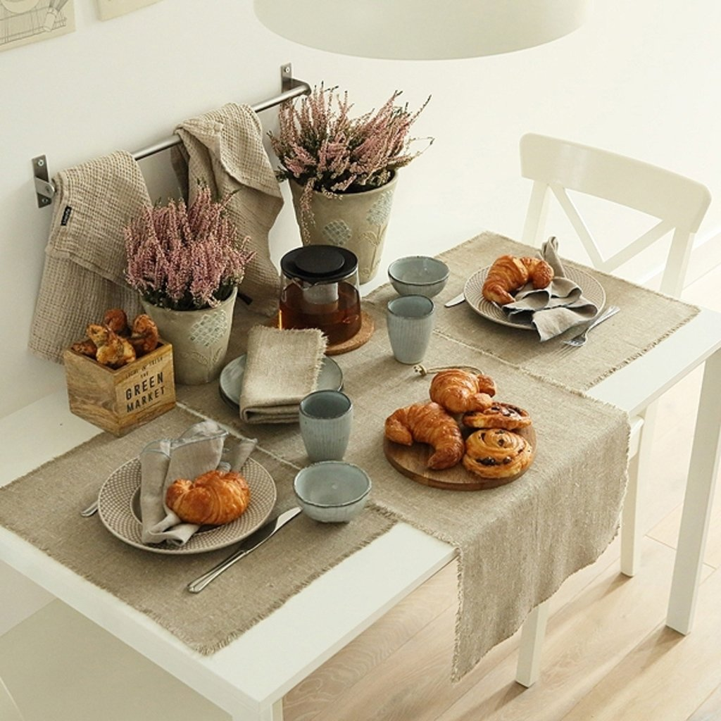 tischl ufer aus leinen natur 45x183 cm. Black Bedroom Furniture Sets. Home Design Ideas
