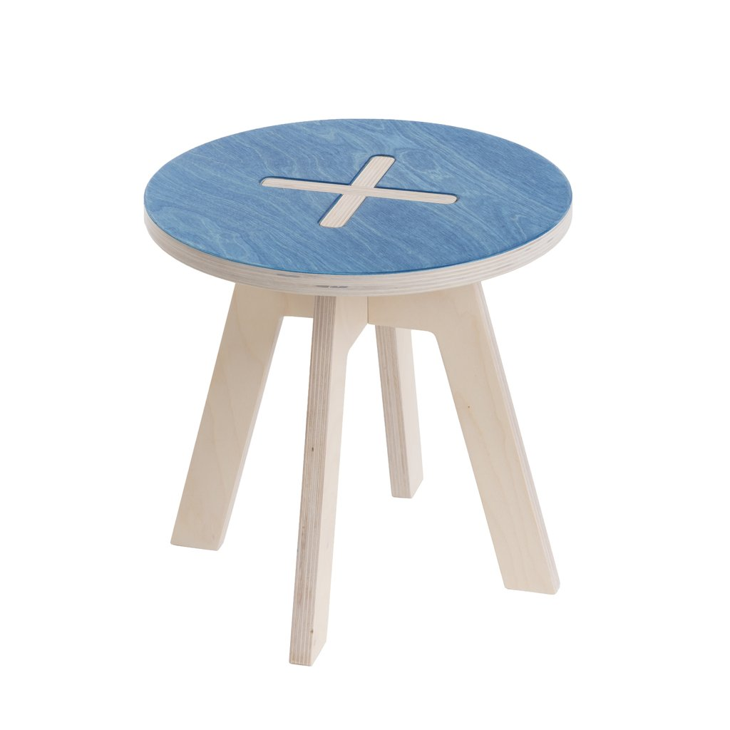 Kinderhocker rund blau Design