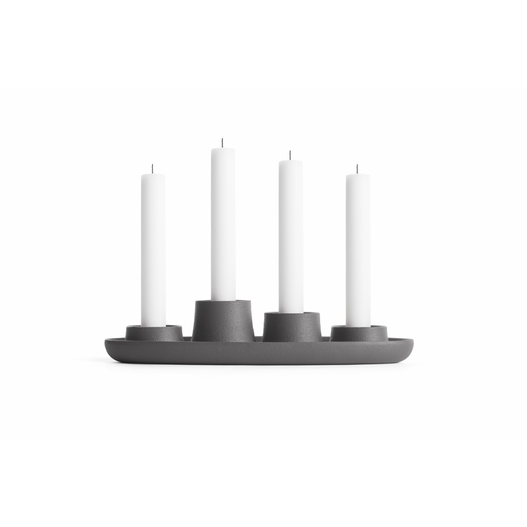 design kerzenhalter aus metall f r 4 kerzen in grau. Black Bedroom Furniture Sets. Home Design Ideas