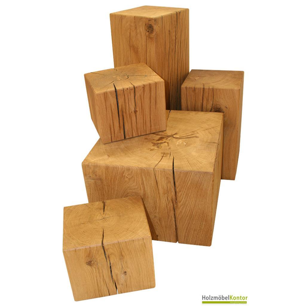 Dein eichenklotz vollmassiv in 38x38x30cm for Holzklotz beistelltisch