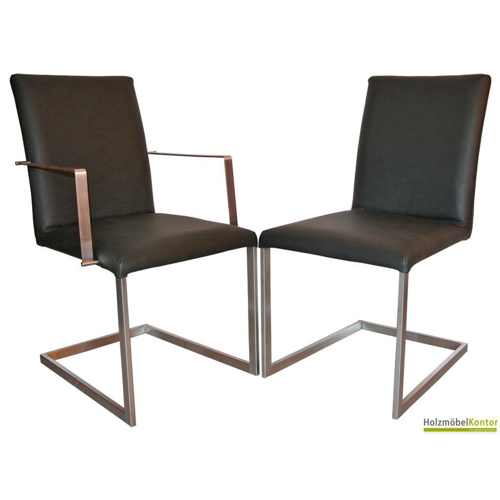 freischwinger mit armlehnen und stabilem edelstahlgestell. Black Bedroom Furniture Sets. Home Design Ideas
