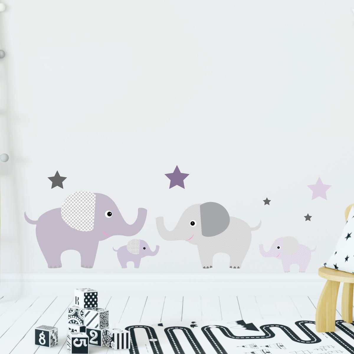 Greenluup wandsticker elefanten in lila flieder violett grau wandsticker kinderzimmer - Wandsticker elefant ...
