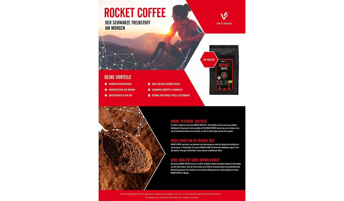 Rocket Coffee - der Bio Robusta von Braineffect | Single Estate, gemahlen