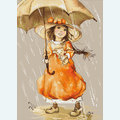 Girl with Umbrella - kruissteekpakket met telpatroon Luca-S