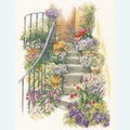 Flower Stairs - borduurpakket met telpatroon Lanarte