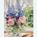 Peonies and Delphiniums - borduurpakket met telpatroon Dimensions