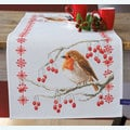 Robin with Red Berries tafelloper -  borduurpakket met telpatroon Vervaco