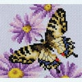 Butterflies and Purple Asters tafelloper -  borduurpakket met telpatroon Vervaco