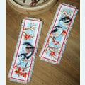 Set van 2 bladwijzers - Long-tailed Tits and Red Berries - Handwerkpakketten met telpatroon Vervaco
