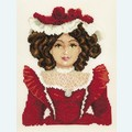 Doll in Red Dress - borduurpakket met telpatroon Vervaco
