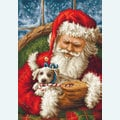 Santa Clause with Dog - borduurpakket met telpatroon Luca-S