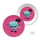 Kinder Geschirr Monster pink