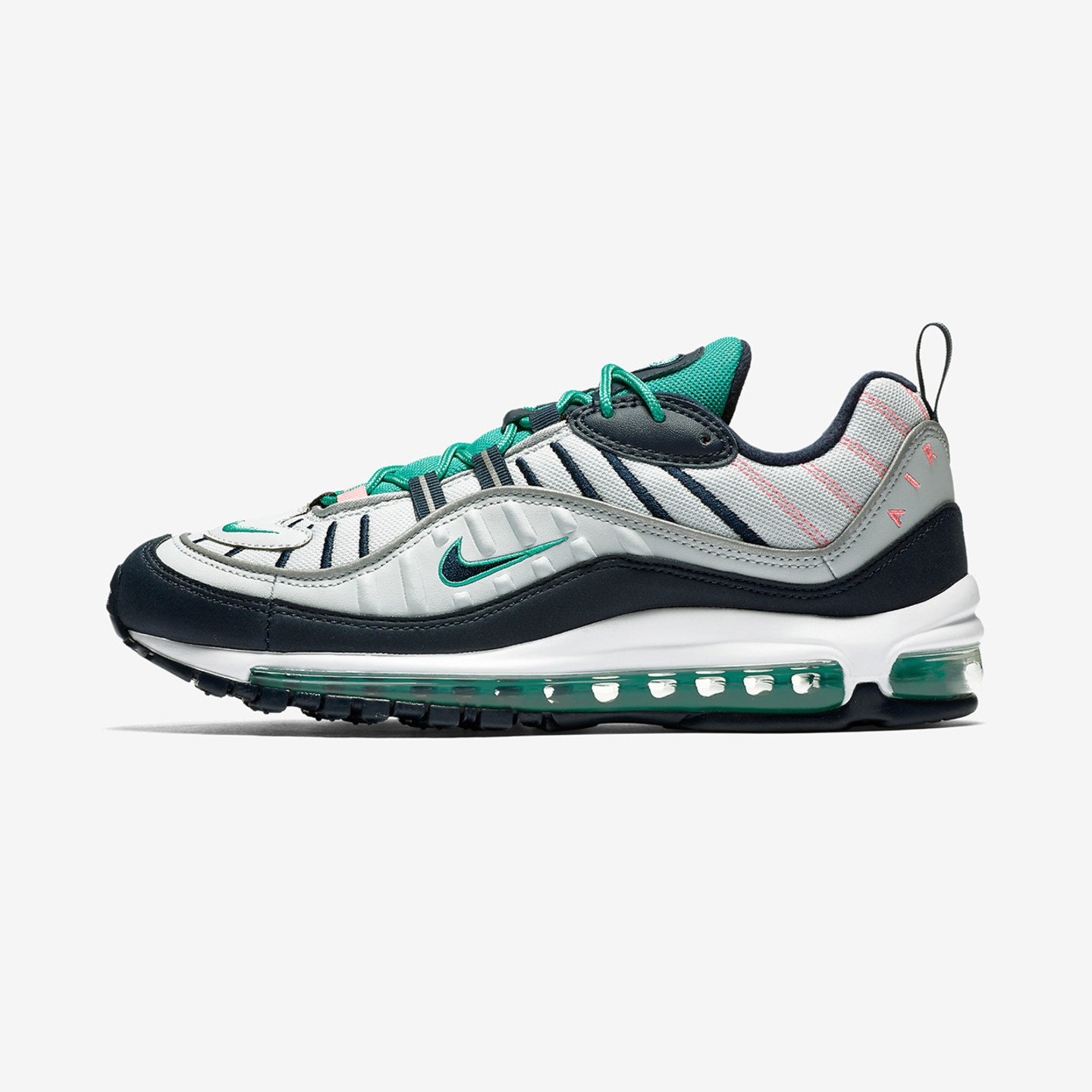 Nike Air Max 98 'South Beach' Purple Platinum / Obsidian / Kinetic Green 640744-005