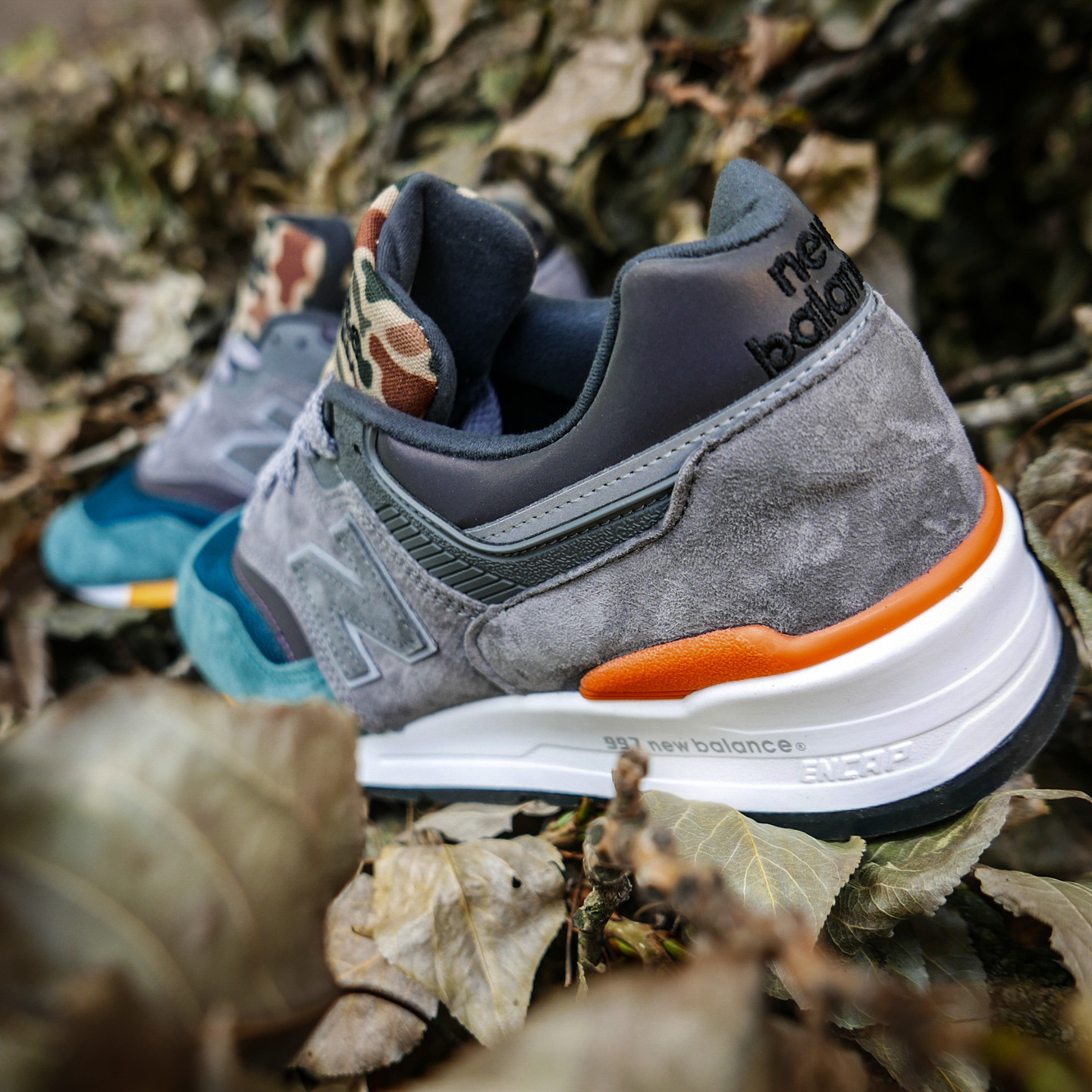 New Balance M997 - Made in USA Petrol / Camo / Grey / Orange M997NM