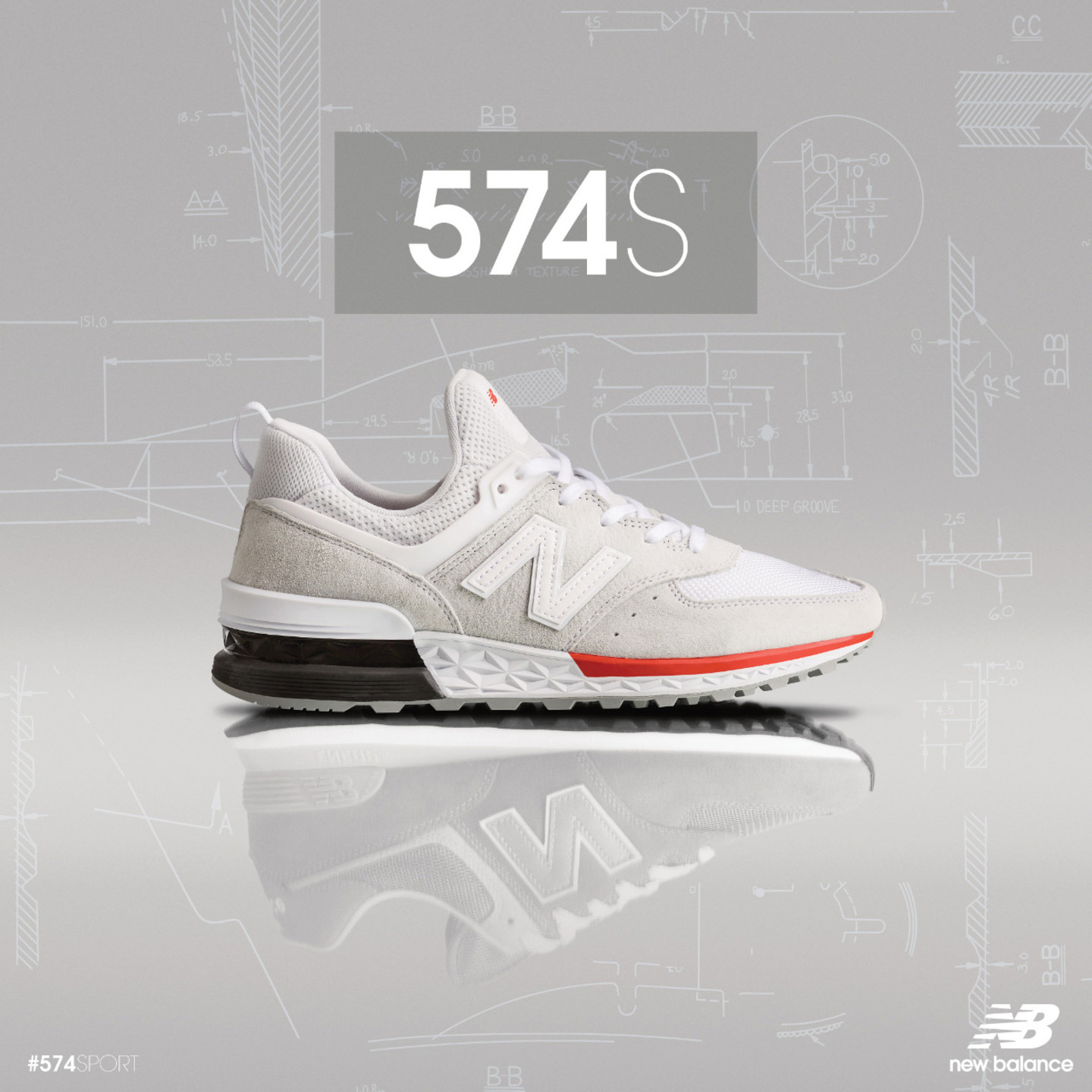 New Balance MS574 Sport White / Red / Black MS574AW
