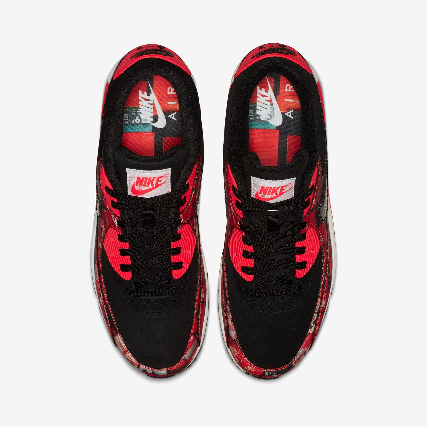 Nike Air Max 90 Print x Atmos 'We love Nike' Black / Bright Crimson / White AQ0926-001