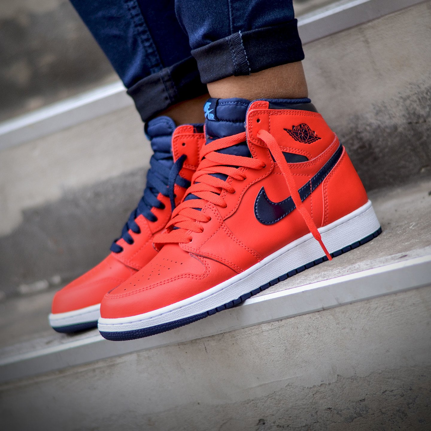 Nike Air Jordan 1 Retro High OG 'Letterman' Light Crimson / University Blue 555088-606-44.5