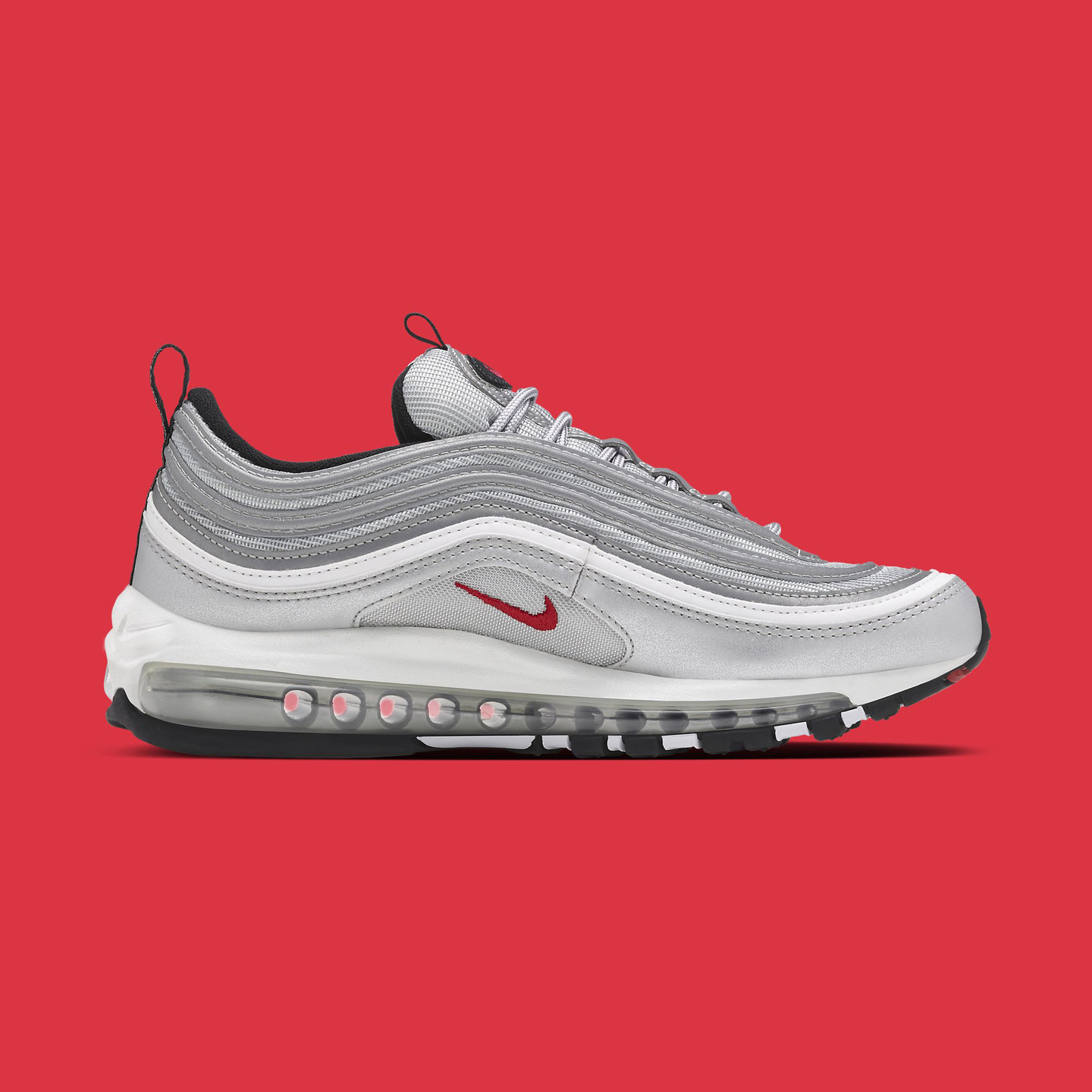 Nike Air Max 97 OG QS 'Silver Bullet' Metallic Silver / Varsity Red 884421-001