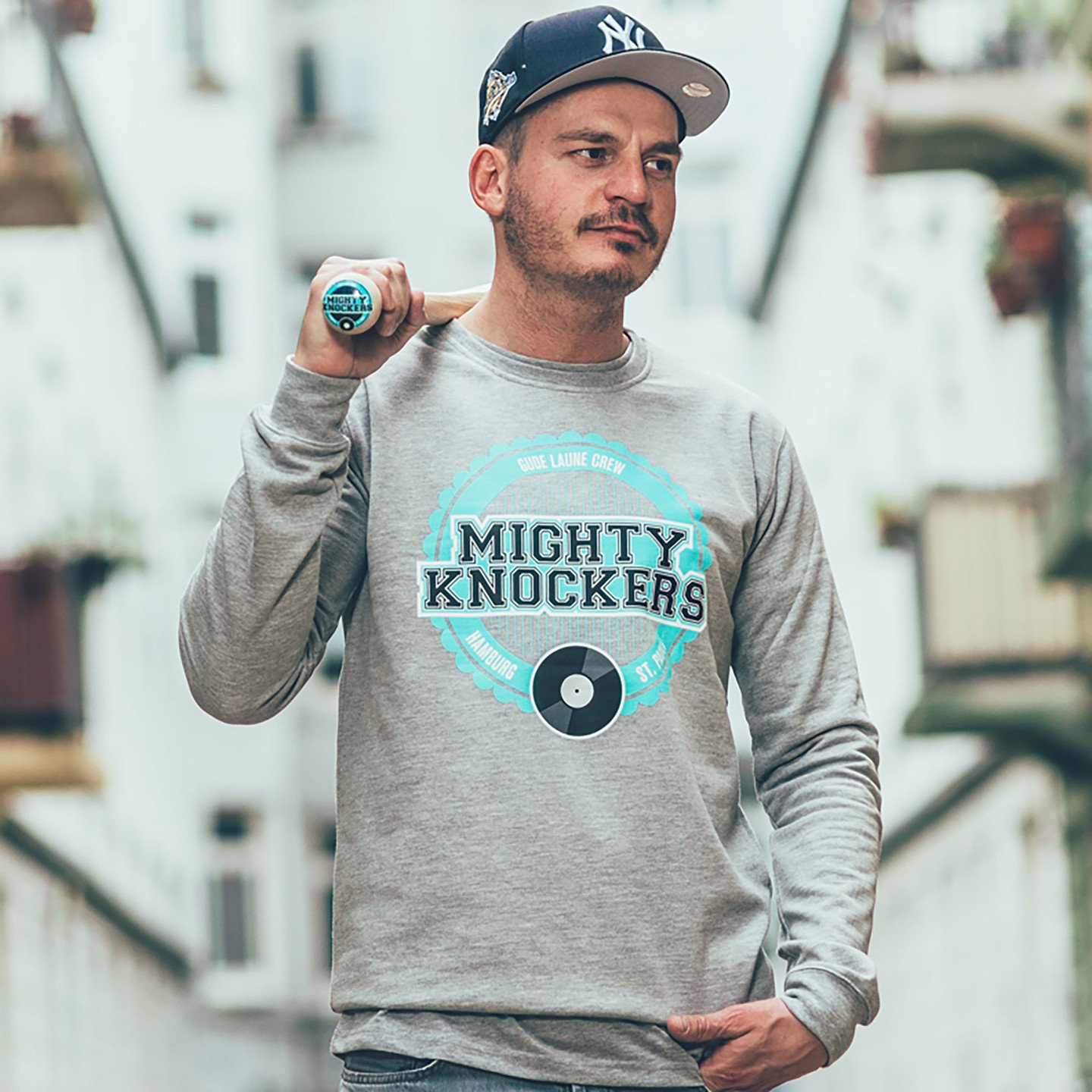 Mighty Knockers Crewneck Sweatshirt Heather Grey / Mighty Mint MK05-L