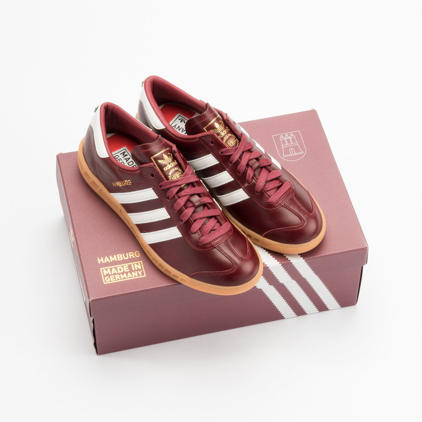 Adidas Hamburg - Made in Germany Burgundy / White / Gold / Gum S31603-46.66