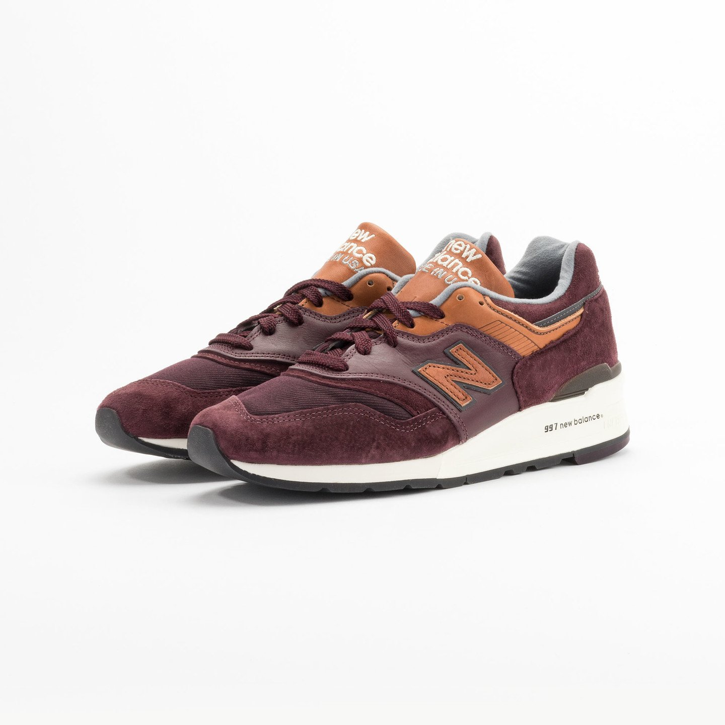 New Balance M997 Made in USA Burgundy / Light Brown M997DSLR-43
