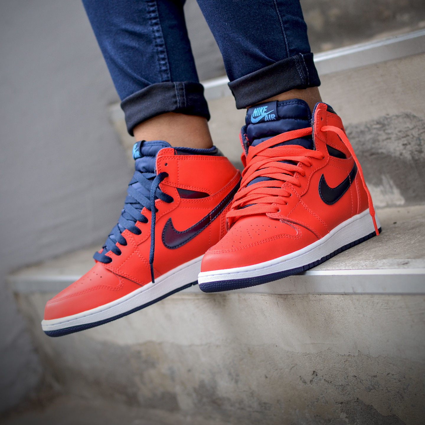 Nike Air Jordan 1 Retro High OG 'Letterman' Light Crimson / University Blue 555088-606-47.5