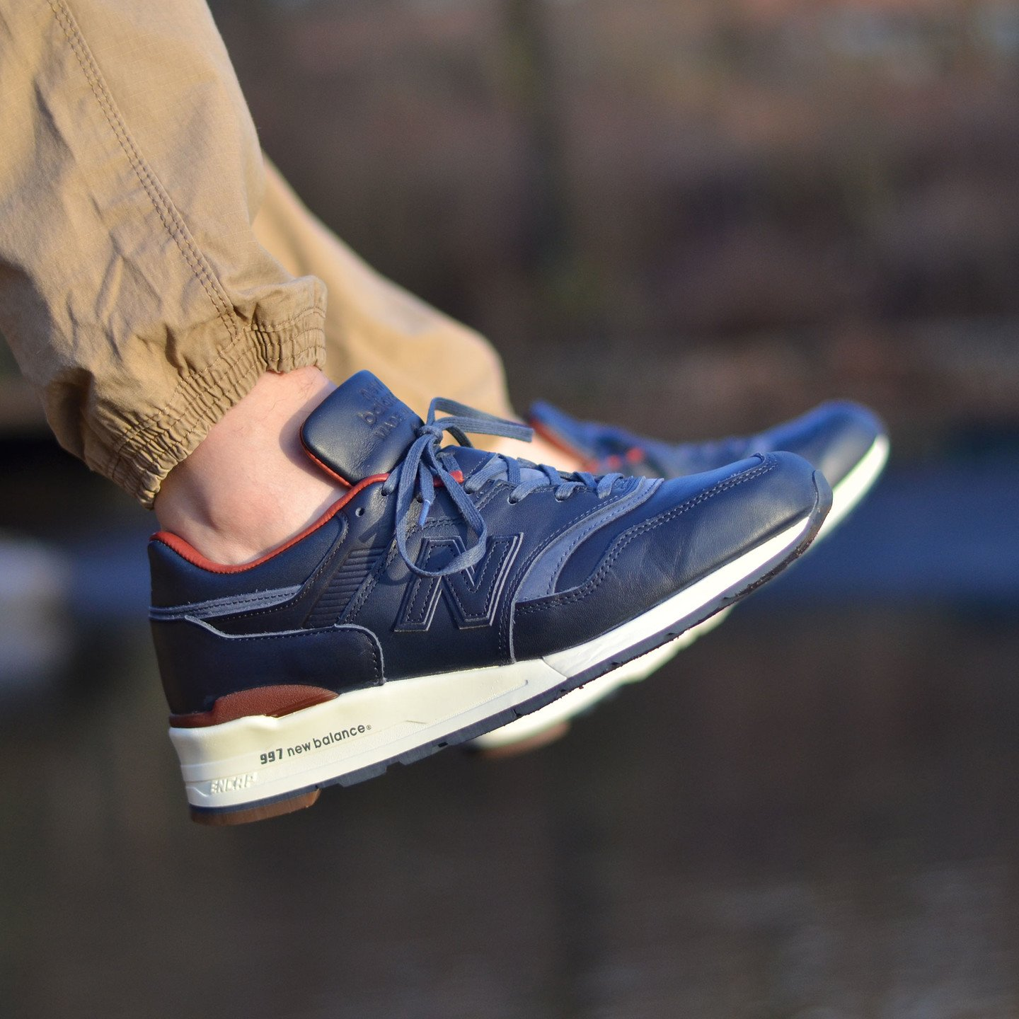 New Balance M997 Made in USA - Horween Leather Dark Blue / Burgundy M997BEXP-42