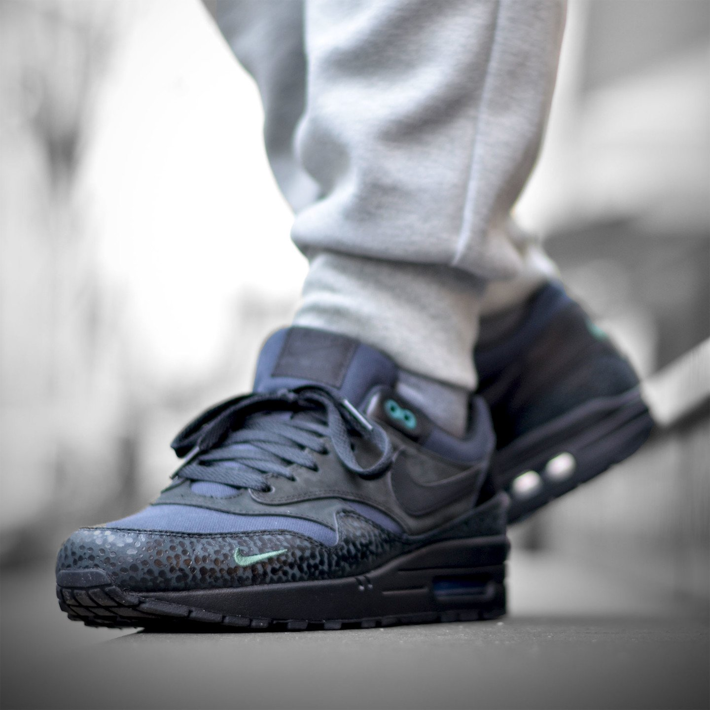 Nike Air Max 1 Premium 'Bonsai Safari' Black / Black / Bonsai 512033-030-45