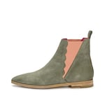 CRICKIT-Chelsea Boot Stiefelette-HOLLY Suede Olive mit Rosa