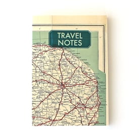 Travel Notes Notizbuch aus Landkarten / Notebook with vintage Map Cover |  | Artikelnummer: notes_V006