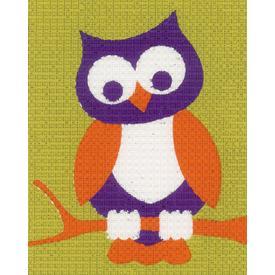 Owl - halve kruissteekpakket Vervaco | Handwerkpakket voor kinderen, te borduren op geschilderd stramien, in halve kruissteek | Artikelnummer: vvc-144266