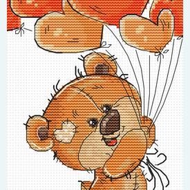 Teddy Bear with Balloons - borduurpakket met telpatroon Luca-S |  | Artikelnummer: luca-b1176