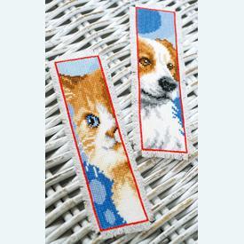 Set van 2 bladwijzers - Cat and Dog - Borduurpakketten met telpatroon Vervaco |  | Artikelnummer: vvc-162195