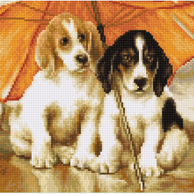 Couple Under Umbrella - kruissteekpakket met telpatroon Luca-S |  | Artikelnummer: luca-b550