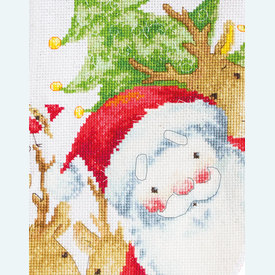 Santa with Reindeer Stocking - borduurpakket met telpatroon Luca-S |  | Artikelnummer: luca-PM1225