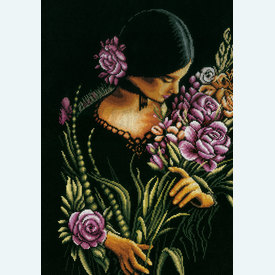 Woman with Flowers - borduurpakket met telpatroon Lanarte |  | Artikelnummer: ln-165378