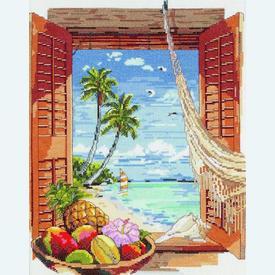 Tropical Vacation Window - borduurpakket met telpatroon Janlynn |  | Artikelnummer: jl-023.0382