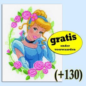 Cinderella with Flower - Disney borduurpakket met telpatroon Vervaco  | Gratis onder voorwaarden  | Artikelnummer: vvc-145095-0-130