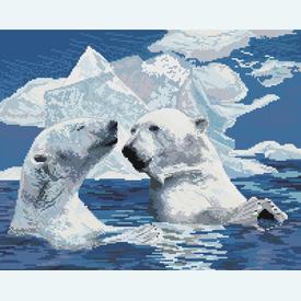 Ice Bears Enjoying the Sunrays - borduurpakket met telpatroon Nafra | stof = evenweave | Artikelnummer: nf-nafra21082e