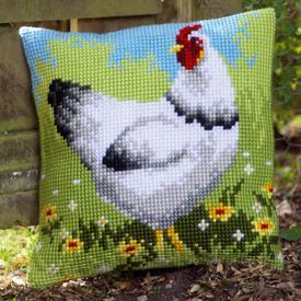 White Chicken - Vervaco Kruissteekkussen |  | Artikelnummer: vvc-157393