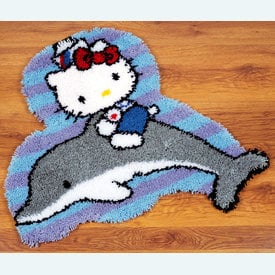 Hello Kitty on a Dolphin - knooptapijt Vervaco  | Smyrna tapijt met Hello Kitty  | Artikelnummer: vvc-149833