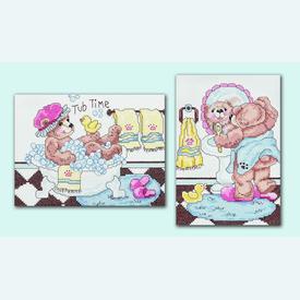 Bathtime Teddies - set van 2 borduurpakketten met telpatroon Janlynn  |  | Artikelnummer: jl-023.0380b