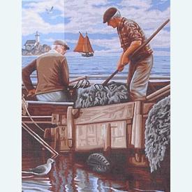 Wrackmen - bundel van geschilderd stramien + borduurwol, te borduren in halve kruissteek |  | Artikelnummer: rp-142-498-bundel