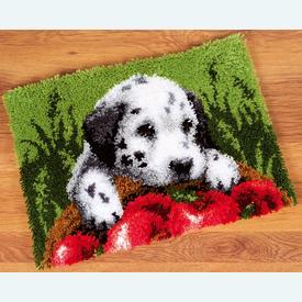 Dalmatian with Apples - knooptapijt Vervaco | Smyrna tapijt met Dalmatiër | Artikelnummer: vvc-147231