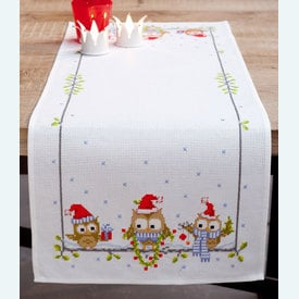 Funny Owls tafelloper -  borduurpakket met telpatroon Vervaco |  | Artikelnummer: vvc-150868